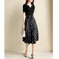 skirt Spring 2021 S,M,L,XL Black, black - pre sale Mid length dress Versatile High waist A-line skirt Dot Type A 30-34 years old More than 95% HANNA WELL silk
