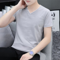 T-shirt Youth fashion thin M,L,XL,2XL,3XL,4XL Others Short sleeve V-neck Self cultivation Other leisure summer Cotton 95% polyurethane elastic fiber (spandex) 5% youth routine tide 2021 Solid color printing cotton other No iron treatment Non brand 90% (inclusive) - 95% (inclusive)