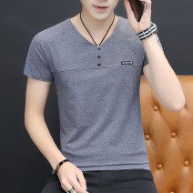 T-shirt Youth fashion thin M,L,XL,2XL,3XL,4XL Others Short sleeve V-neck Self cultivation Other leisure summer Cotton 95% polyurethane elastic fiber (spandex) 5% youth routine Basic public 2020 Solid color Button decoration cotton No iron treatment Non brand 90% (inclusive) - 95% (inclusive)