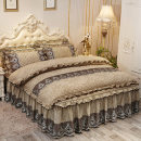 Bedding Set / four piece set / multi piece set Others Embroidered quilting Solid color Gao Kezhong Others 4 pieces other Bed skirt Qualified products mediterranean sea other