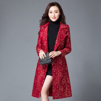 short coat Autumn 2016 S,M,L,XL,2XL,3XL,4XL Red, blue, black, red with cotton, black with cotton Long sleeves Medium length routine singleton  Self cultivation Original design routine tailored collar A button Solid color 96% and above WT-069 polyester fiber polyester fiber