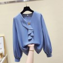 Lace / Chiffon Spring 2021 Blue, apricot, white S,M,L,XL Long sleeves commute Socket singleton  Straight cylinder Regular V-neck Solid color routine 25-29 years old Buttons, bows, ruffles 96% and above polyester fiber