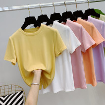 T-shirt White, black, yellow, pink, orange, taro purple, Matcha green M, L Summer 2021 Short sleeve Crew neck Self cultivation have cash less than that is registered in the accounts routine commute cotton 96% and above 25-29 years old Korean version originality Solid color