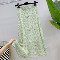 skirt Summer 2021 Average size Pink, light yellow, green Middle-skirt commute High waist A-line skirt Decor Type A 25-29 years old More than 95% other printing Korean version
