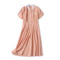 Dress Summer 2020 Orange XS,M,L,XL,2XL Mid length dress singleton  Sweet High waist Single breasted Princess Dress Flying sleeve 25-29 years old princess
