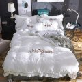 Bedding Set / four piece set / multi piece set Polyester (polyester fiber) Embroidered quilting Solid color 128x68 Polyester (polyester fiber) 4 pieces 40 Sheet bed skirt Qualified products Princess style other Reactive Print  Thermal storage other