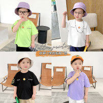 T-shirt Green, white, black, purple Small die 80CM,90CM,100CM,110CM,120CM,130CM male summer Short sleeve Crew neck leisure time There are models in the real shooting nothing Cotton blended fabric other X2576 other 2 years, 3 years, 4 years, 5 years, 6 years, 12 months, 18 months