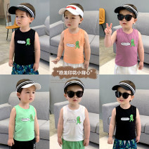 Vest sling Black, white, mint green, blackcurrant purple Sleeveless 73,80,90,100,110,120,130 summer Small die male There are models in the real shooting leisure time Cartoon animation Crew neck nothing Pure cotton (95% and above) Cotton 100% X1523