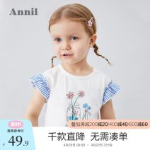T-shirt Ice water blue rice white cream powder Annil / anel 80cm 90cm 100cm 110cm 120cm female summer Short sleeve Crew neck leisure time There are models in the real shooting nothing Cotton blended fabric Cartoon animation Cotton 94.9% polyurethane elastic fiber (spandex) 5.1% TG021210 Summer 2020