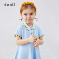 Dress Ice water blue, beibai, new royal blue female Annil / anel 80cm,90cm,100cm,110cm,120cm Cotton 64.5% polyester 35.5% summer leisure time Short sleeve Solid color Cotton blended fabric A-line skirt TG023082 12 months, 18 months, 2 years old, 3 years old, 4 years old, 5 years old, 6 years old