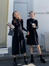 Dress Winter of 2019 Black short thickened, apricot short thickened, yellow short thickened, black long thickened, apricot long thickened, yellow long thickened S,M,L,XL longuette singleton  Long sleeves commute Half high collar High waist Solid color Socket Big swing routine Others Type A Retro