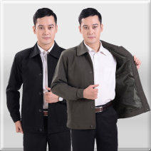 Jacket Other / other Business gentleman Brown, black routine easy Home autumn Long sleeves Wear out Lapel middle age routine Single breasted 2016 Cloth hem No iron treatment Closing sleeve polyester fiber Button decoration