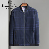 Jacket Bond / Lambert Fashion City red-checkered pattern 175/L,195/XXXXL,180/XL,185/XXL,190/XXXL routine standard Other leisure, everyday spring Long sleeves Wear out stand collar American leisure middle age Zipper placket 2020 Straight hem No iron treatment lattice printing Side seam pocket other
