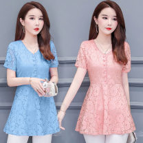 Lace / Chiffon Summer of 2019 Light blue, black, pink M,L,XL,2XL,3XL,4XL Short sleeve commute Socket singleton  easy Medium length V-neck Solid color routine Gouhua, hollow out, splicing, nail bead, gauze net, lace Korean version 81% (inclusive) - 90% (inclusive)