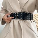 Belt / belt / chain Pu (artificial leather) Belt + Chain female belt Versatile Single loop Youth Pin buckle Leather decoration soft surface 6.2cm alloy Rivet chain LATIN EAGLE F229 Autumn 2020