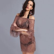 Dress Summer 2020 Khaki slim, collection plus purchase priority delivery Average size: 80-120 Jin Short skirt singleton  three quarter sleeve One word collar pagoda sleeve Chenman style Hollow, lace Lace