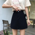 skirt Spring 2021 S,M,L,XL White, black Short skirt commute High waist A-line skirt Solid color Type A 18-24 years old 71% (inclusive) - 80% (inclusive) Denim polyester fiber Korean version