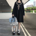 Dress Spring 2021 black Average size Mid length dress singleton  Long sleeves Sweet Admiral High waist Solid color Socket A-line skirt routine 18-24 years old Type A bow 51% (inclusive) - 70% (inclusive) polyester fiber college