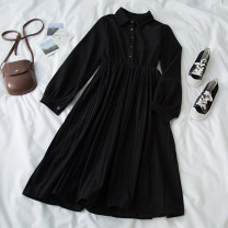 Dress Spring 2021 black Average size Mid length dress singleton  Long sleeves commute Polo collar High waist Solid color Socket A-line skirt bishop sleeve 18-24 years old Type A Button 71% (inclusive) - 80% (inclusive) polyester fiber