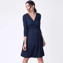 Dress Tenordan Black, Navy XS,S,M,L,XL,XXL,XXXL Europe and America three quarter sleeve routine summer V-neck Solid color modal