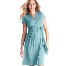 Dress Tenordan XS,S,M,L,XL,XXL,XXXL Europe and America Short sleeve routine summer V-neck Solid color modal