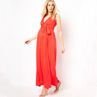 Dress Tenordan Red, green XS,S,M,L,XL,XXL,XXXL Europe and America Sleeveless have more cash than can be accounted for summer V-neck Solid color Pure cotton (95% and above)