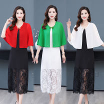 short coat Summer 2020 XL,2XL,3XL Red shawl, white shawl, black shawl, green shawl Sleeveless have cash less than that is registered in the accounts Thin money singleton  Cape type commute Crew neck Solid color 91% (inclusive) - 95% (inclusive) polyester fiber polyester fiber