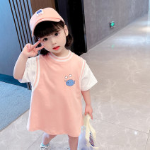 T-shirt Pink, green Cool Ding umbrella 90cm,100cm,110cm,120cm,130cm female summer Short sleeve Crew neck Korean version There are models in the real shooting nothing cotton Solid color Cotton 100% [No.16] Class B other Chinese Mainland Zhejiang Province Huzhou City