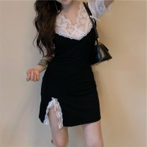 Dress Spring 2021 White lace top, black suspender skirt XS,S,M,L Mid length dress singleton  Long sleeves commute square neck A-line skirt 18-24 years old Type X 31% (inclusive) - 50% (inclusive) other other