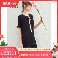 Dress Summer 2020 Black, Provence blue, cherry powder XS,S,XL,L,M Mid length dress singleton  Short sleeve commute V-neck Loose waist A button A-line skirt pagoda sleeve 25-29 years old Type A gorgeous clothing Bow, button DSY0041LT205 More than 95% other polyester fiber