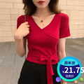 T-shirt Red, black, white, gray S,M,L,XL,2XL Summer 2021 Short sleeve V-neck Self cultivation have cash less than that is registered in the accounts routine Sweet polyester fiber 96% and above other Solid color Other / other Bandages, bows Mori
