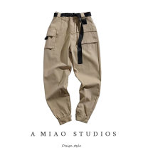 Casual pants Khaki, black, army green S,M,L Autumn of 2019 trousers High waist 71% (inclusive) - 80% (inclusive)