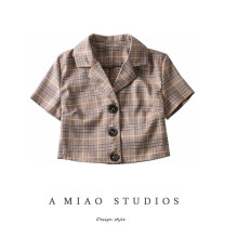 shirt As shown in the figure S,M,L Spring 2020 other 71% (inclusive) - 80% (inclusive) Short sleeve commute Short style (40cm < length ≤ 50cm) tailored collar Single row multi button lattice Retro