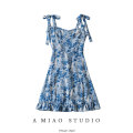 Dress Summer 2021 As shown in the figure S,M,L Short skirt singleton  Sleeveless commute High waist Decor camisole Retro printing 71% (inclusive) - 80% (inclusive)