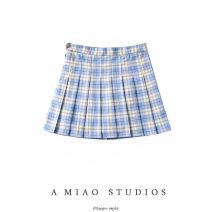 skirt Summer 2020 XS,S,M,L Short skirt commute High waist Pleated skirt lattice 71% (inclusive) - 80% (inclusive) Retro