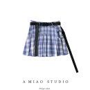 skirt Summer 2020 XS,S,M,L Dark purple, haze blue purple, gray grid Short skirt Retro High waist Pleated skirt lattice 71% (inclusive) - 80% (inclusive)