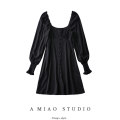 Dress Spring 2021 black XS,S,M,L Short skirt singleton  Long sleeves commute square neck High waist Solid color puff sleeve Retro Button