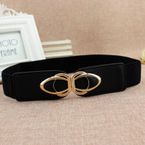 Belt / belt / chain other Black [el83] female Waistband leisure time Single loop Middle aged youth a hook Geometric pattern 4cm alloy Tightness EL83