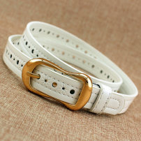 Belt / belt / chain Pu (artificial leather) female belt leisure time Single loop Middle aged youth Pin buckle Geometric pattern soft surface 2.2cm