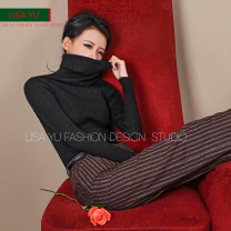 sweater Winter 2014 Long sleeves Socket singleton  Regular cotton 71% (inclusive) - 80% (inclusive) High collar Regular commute routine Solid color Self cultivation Fine wool 25-29 years old Lisa Yu / Lisa Yu Cotton 80% new polyester 20%
