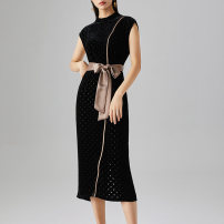 Dress Autumn 2020 black 160/84B/M 165/88B/L 170/92B/XL 175/96B/XXL Mid length dress singleton  Sleeveless commute stand collar Solid color Socket One pace skirt routine Others 30-34 years old Deer song Simplicity Button belt LGH03L1105 71% (inclusive) - 80% (inclusive) polyester fiber