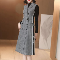 Dress Winter 2020 lattice S/155 M/160 L/165 XL/170 Mid length dress Two piece set Long sleeves commute tailored collar middle-waisted houndstooth  double-breasted A-line skirt routine straps 30-34 years old Deer song Ol style Pocket panel button LGH04L1602 71% (inclusive) - 80% (inclusive)