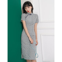 cheongsam Summer 2021 S M L XL XXL 3XL Ash blue Short sleeve Short cheongsam Retro Low slit daily Oblique lapel lattice Piping MSY0140 Mesryou other Other 100% Pure e-commerce (online only) 96% and above
