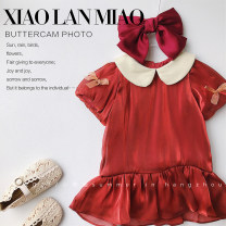 Dress Xx980 sauce red female Other / other 90cm,100cm,110cm,120cm,130cm Cotton 100% summer court Short sleeve Solid color cotton Lotus leaf edge Class B 18 months, 2 years old, 3 years old, 4 years old, 5 years old, 6 years old, 7 years old
