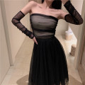 skirt Spring 2020 S, M black longuette commute High waist A-line skirt Solid color Type A 18-24 years old More than 95% polyester fiber Simplicity