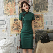cheongsam Spring of 2019 S M L XL XXL XXXL Short sleeve Short cheongsam Retro Low slit daily Oblique lapel Solid color 25-35 years old Piping Yijiahong polyester fiber Polyester 100% Pure e-commerce (online only)