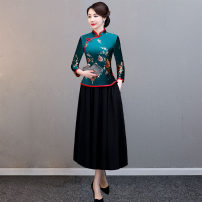 cheongsam Winter of 2019 L XL XXL XXXL 4XL 5XL 6XL Decor red coat Decor green coat Decor blue coat Decor red suit Decor green suit Decor blue suit three quarter sleeve long cheongsam Retro No slits daily Oblique lapel Decor Over 35 years old Piping Yijiahong polyester fiber Polyester 100%