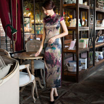 cheongsam Winter of 2019 S M L XL XXL 3XL 4XL Purple edge - Lotus 2117 Decor 2119 Decor Short sleeve long cheongsam Retro High slit daily double-breasted  Decor 25-35 years old Piping Yijiahong polyester fiber Polyester 100% Pure e-commerce (online only)