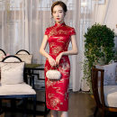 cheongsam Spring 2020 M L XL XXL XXXL Blue and red Short sleeve Short cheongsam Retro Low slit daily Oblique lapel Decor 25-35 years old Piping Yijiahong polyester fiber Polyester 100% Pure e-commerce (online only)