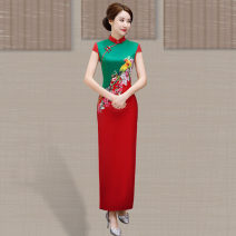 cheongsam Spring of 2019 M L XL XXL XXXL 4XL 5XL Yellow green rose purple red green Short sleeve long cheongsam Retro High slit daily Oblique lapel Decor 25-35 years old Piping Yijiahong polyester fiber Polyester 100% Pure e-commerce (online only)